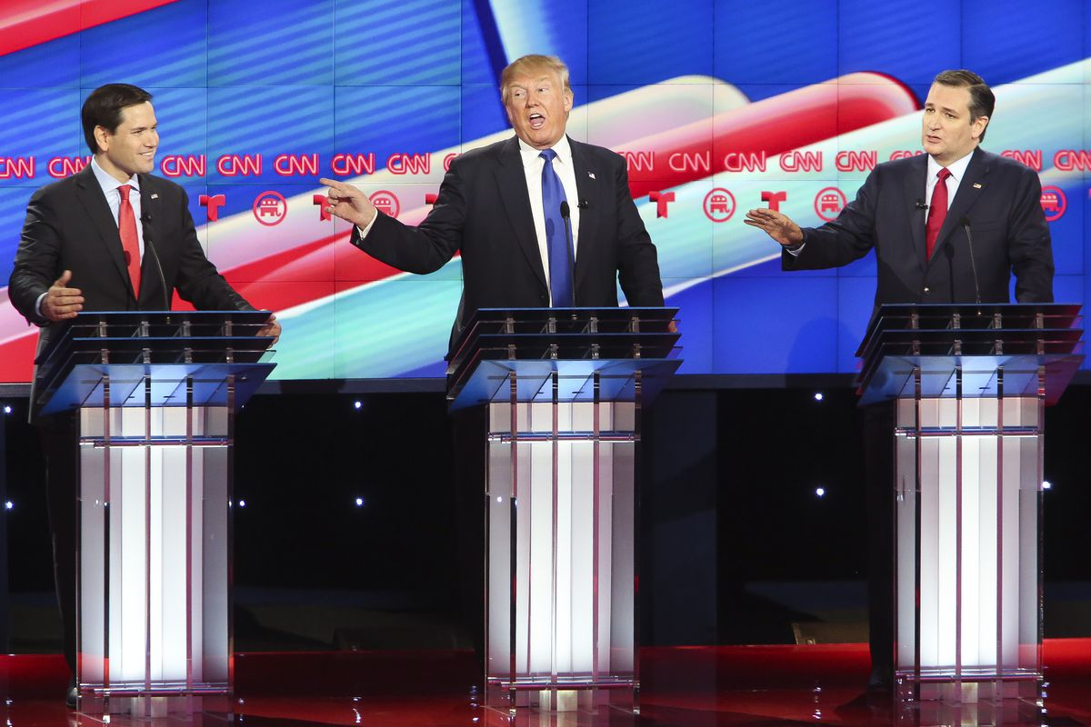 Marco Rubio and Ted Cruz confront Trump during the February 25 GOP debate