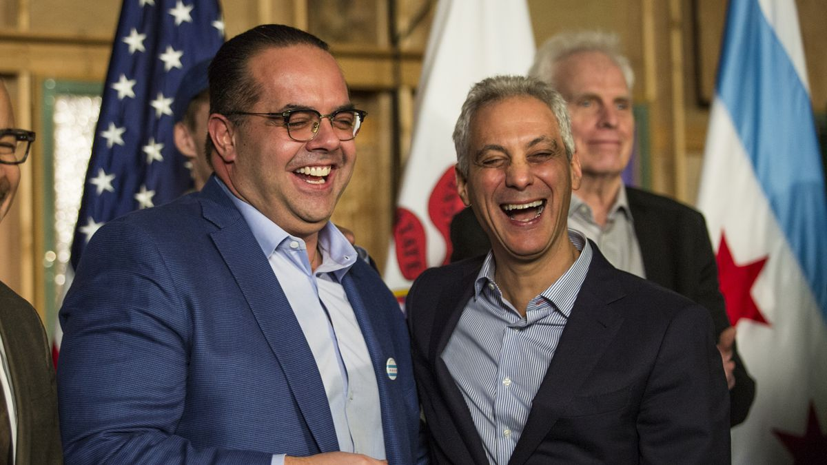"""Cinespace Chicago Film Studios president Alexander S. """"Alex"""" Pissios shares a laugh with Mayor Rahm Emanuel at a news conference at the studio last February."""