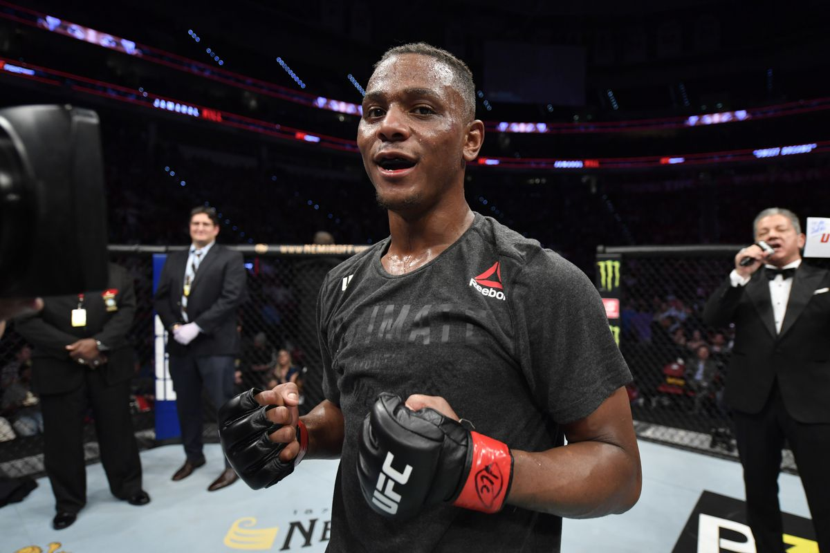 Jamahal Hill celebrates his victory over Darko Stosic of Serbia in their light heavyweight bout during the UFC Fight Night event at PNC Arena on January 25, 2020 in Raleigh, North Carolina.