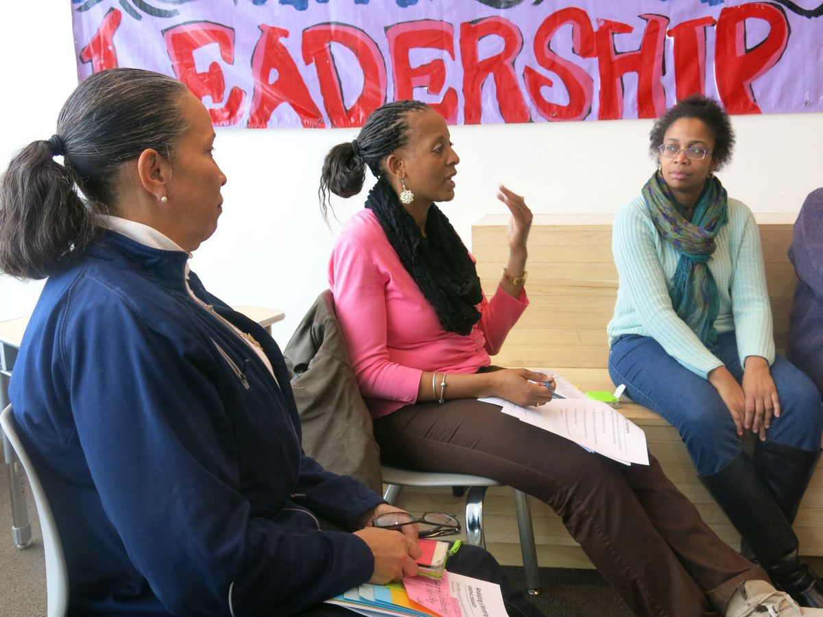 District 9 teacher-mentors swapped stories during a recent training.