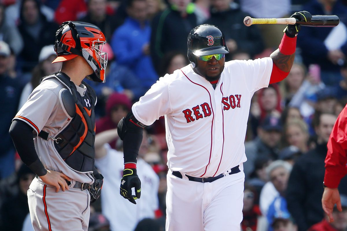 David Ortiz throws his bat in disgust after being ejected from a game against the Orioles.