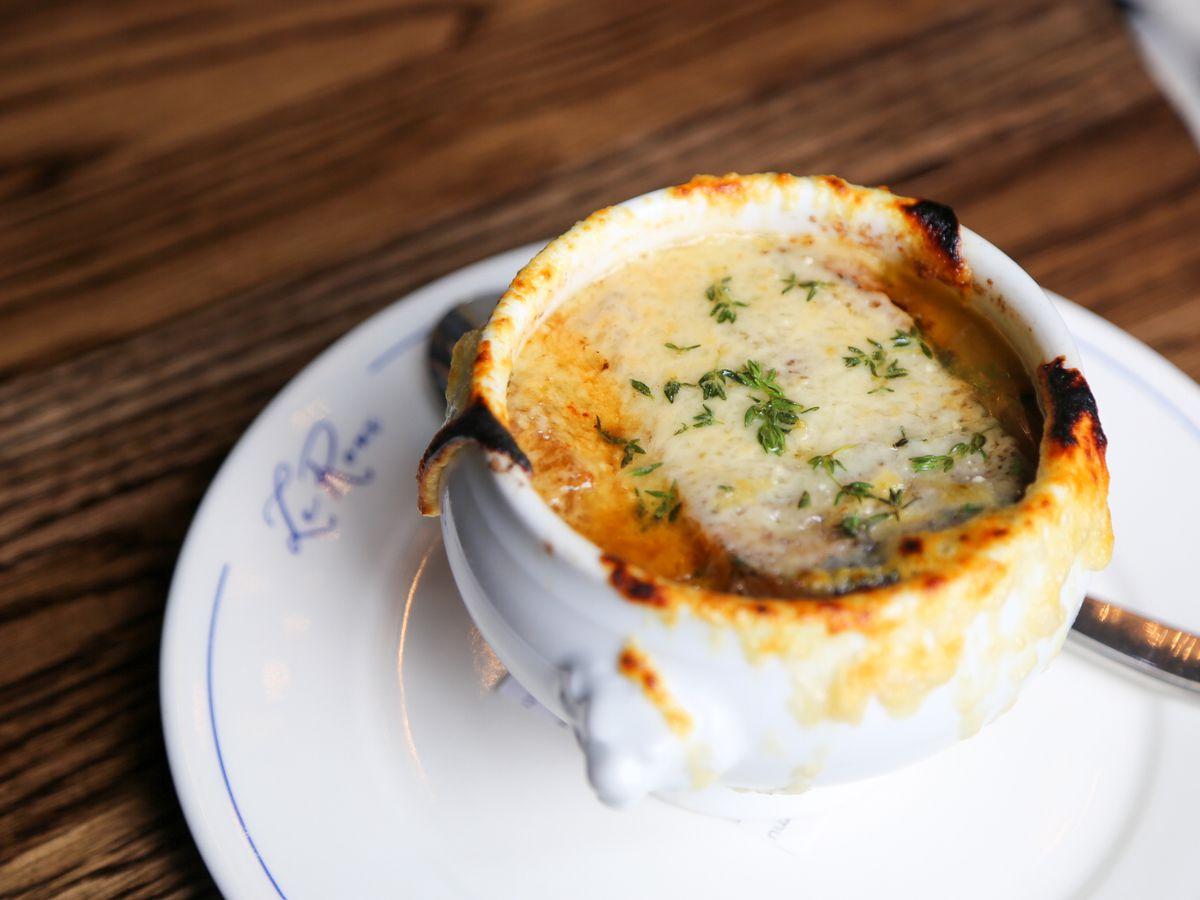 French onion soup in crockery