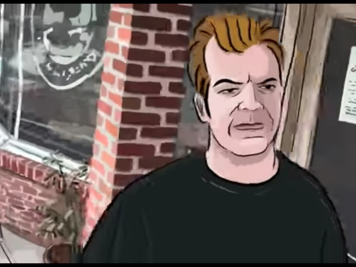 The man in Waking Life outside of Quack's