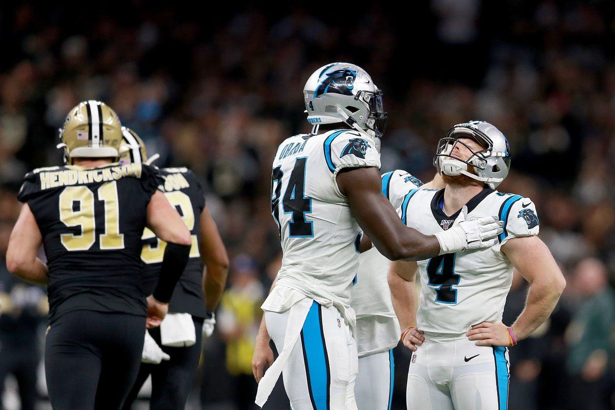 Joey Slye of the Carolina Panthers reacts after missing the extra point against the New Orleans Saints during the third quarter in the game at Mercedes Benz Superdome on November 24, 2019 in New Orleans, Louisiana.