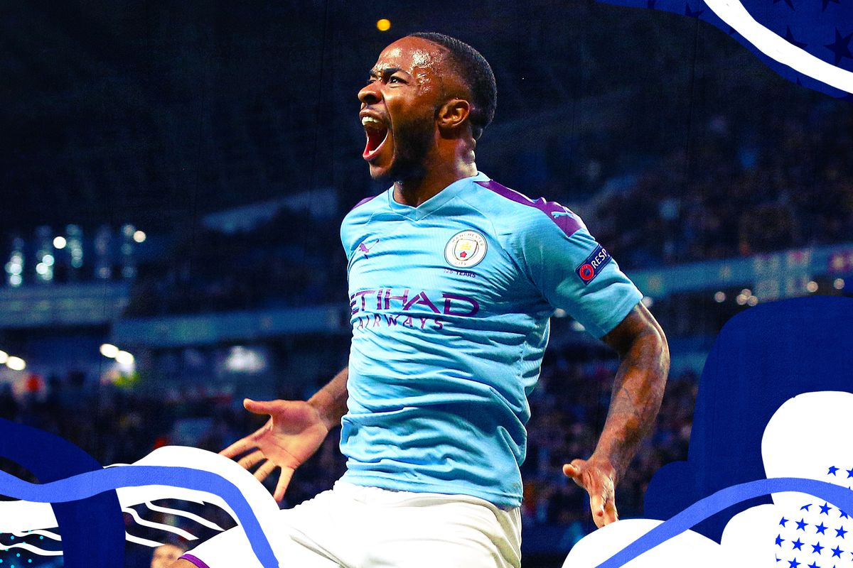 Raheem Sterling kicking his knee up and yelling in celebration after scoring a goal against Atalanta.