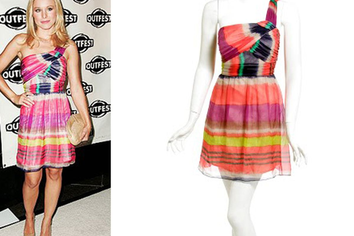 """Photo on left via <a href=""""http://www.shoshanna.com/"""">Shoshanna</a>; photo on right of Kristen Bell's Shoshanna dress via <a href=""""http://www.vivadressup.com/"""">VivaDressUp</a>"""