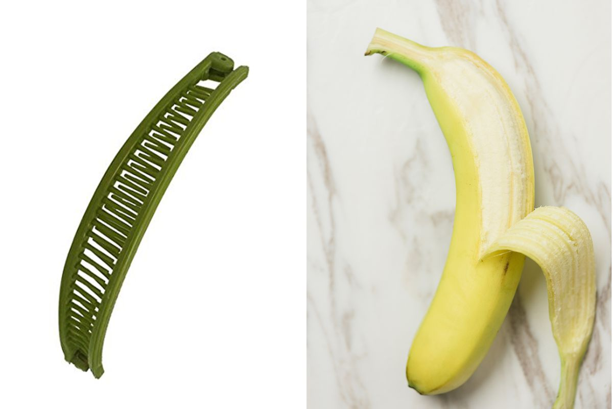 Side By Images Of A Banana Clip And