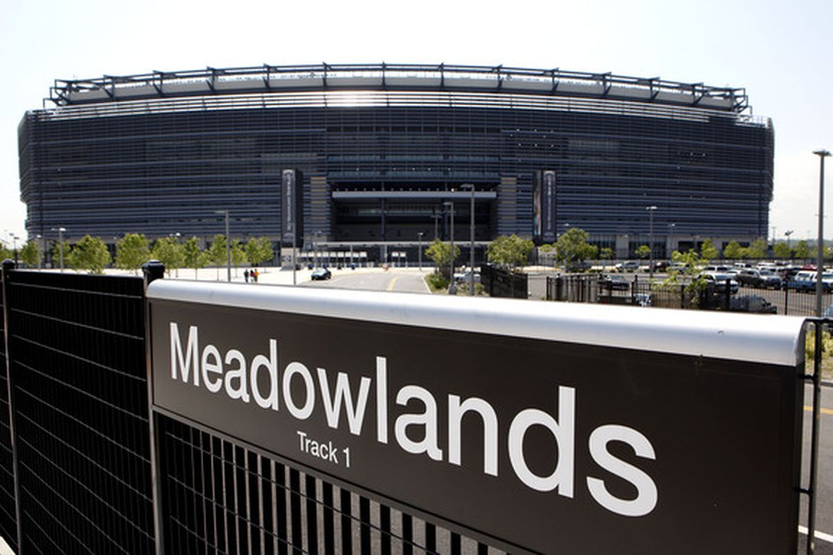 The New Meadowlands Stadium is seen on May 25, 2010 in East Rutherford, New Jersey. The NFL has annouced that the 2014 Super Bowl will be played in the Meadowlands.  (Photo by Jeff Zelevansky/Getty Images)