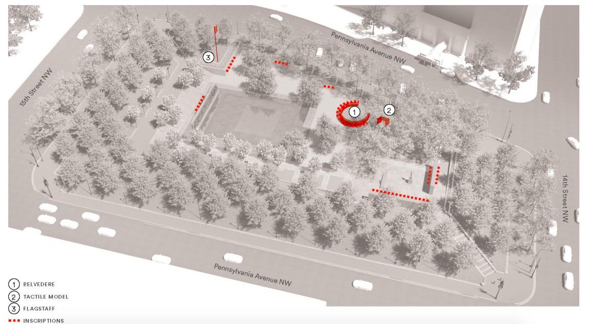 A site plan for a park memorial.