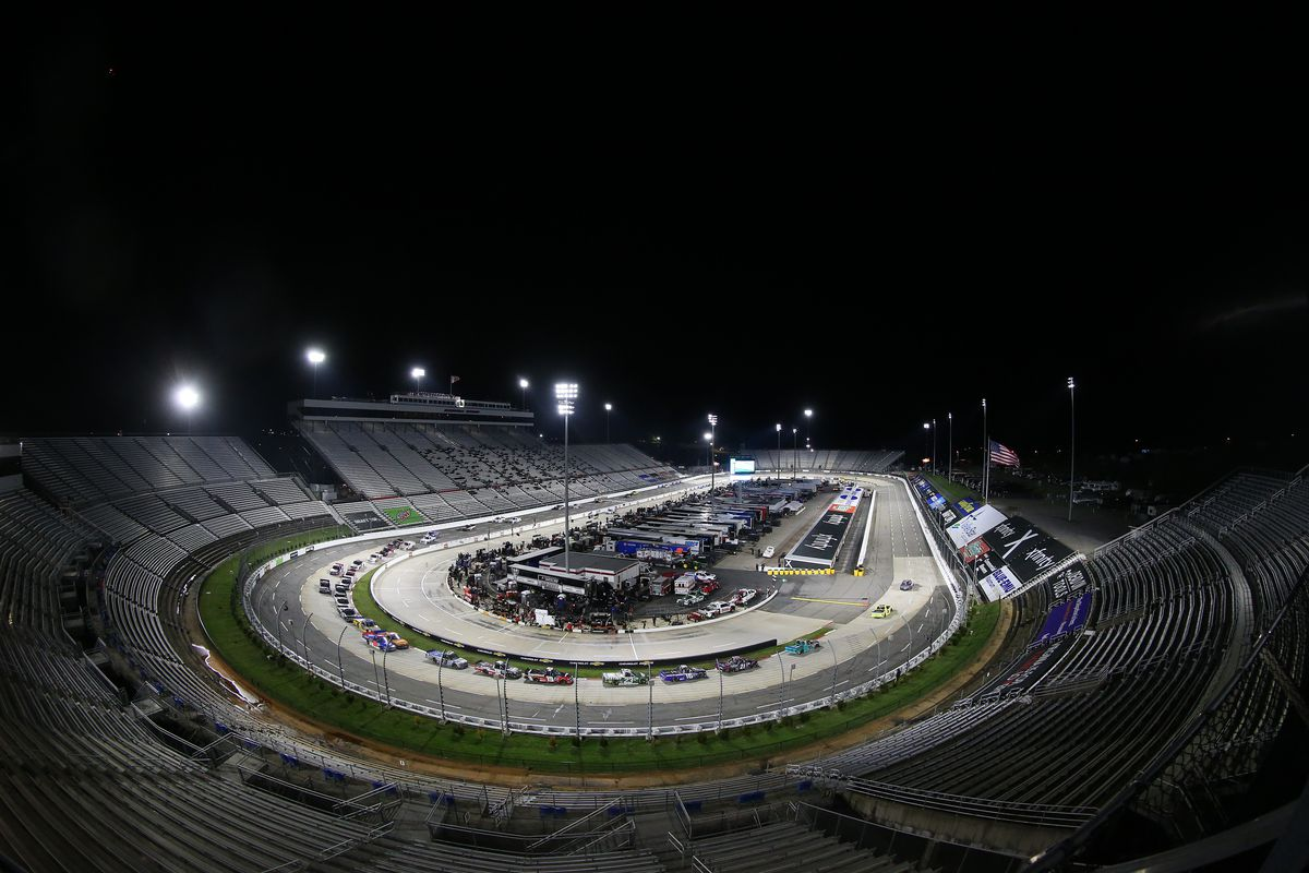 A general view of the NASCAR Gander RV & Outdoors Truck Series NASCAR Hall of Fame 200 at Martinsville Speedway on October 30, 2020 in Martinsville, Virginia.