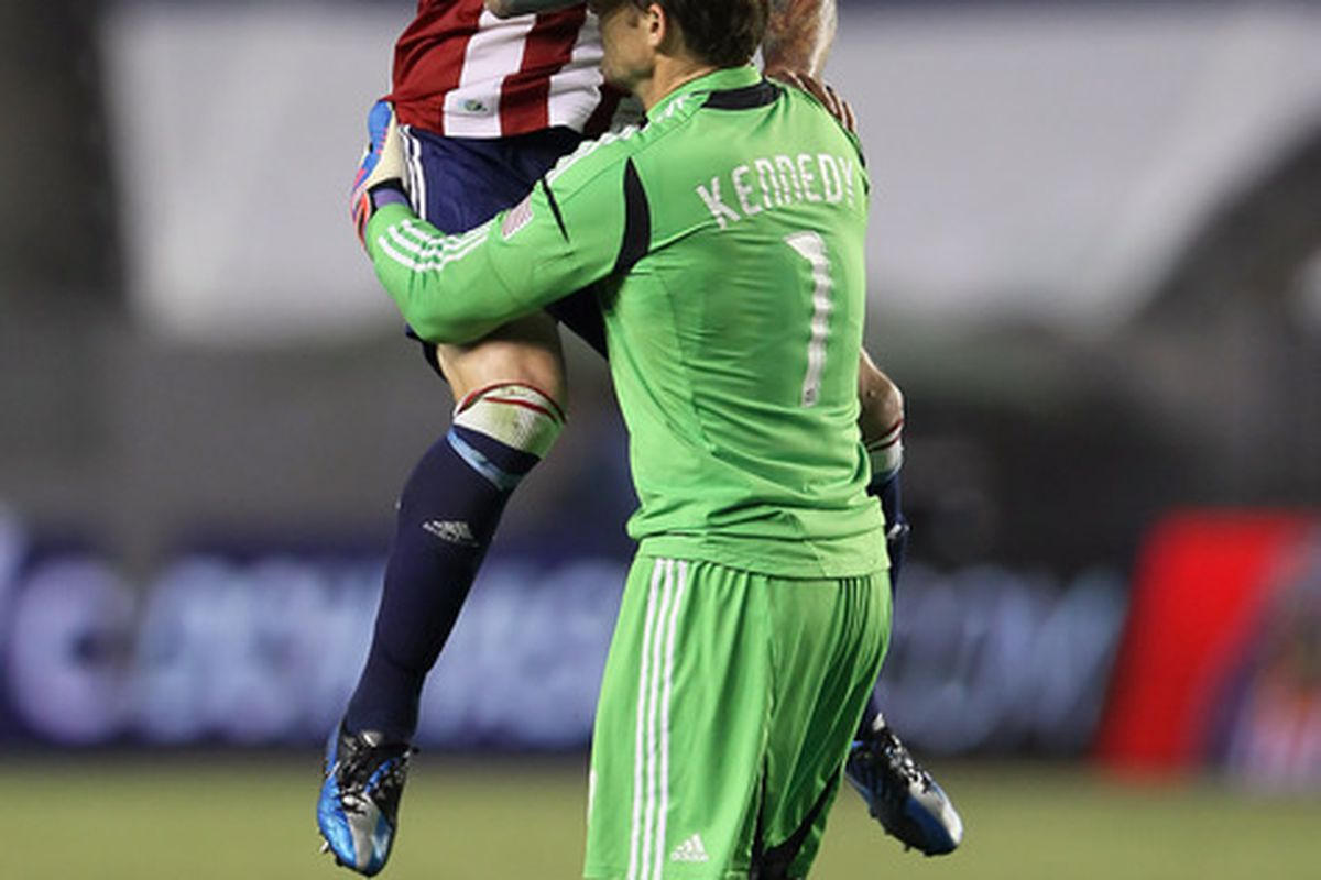 CARSON, CA - JUNE 20:  Will we see these two hugging again after the Portland match? (Photo by Jeff Gross/Getty Images)