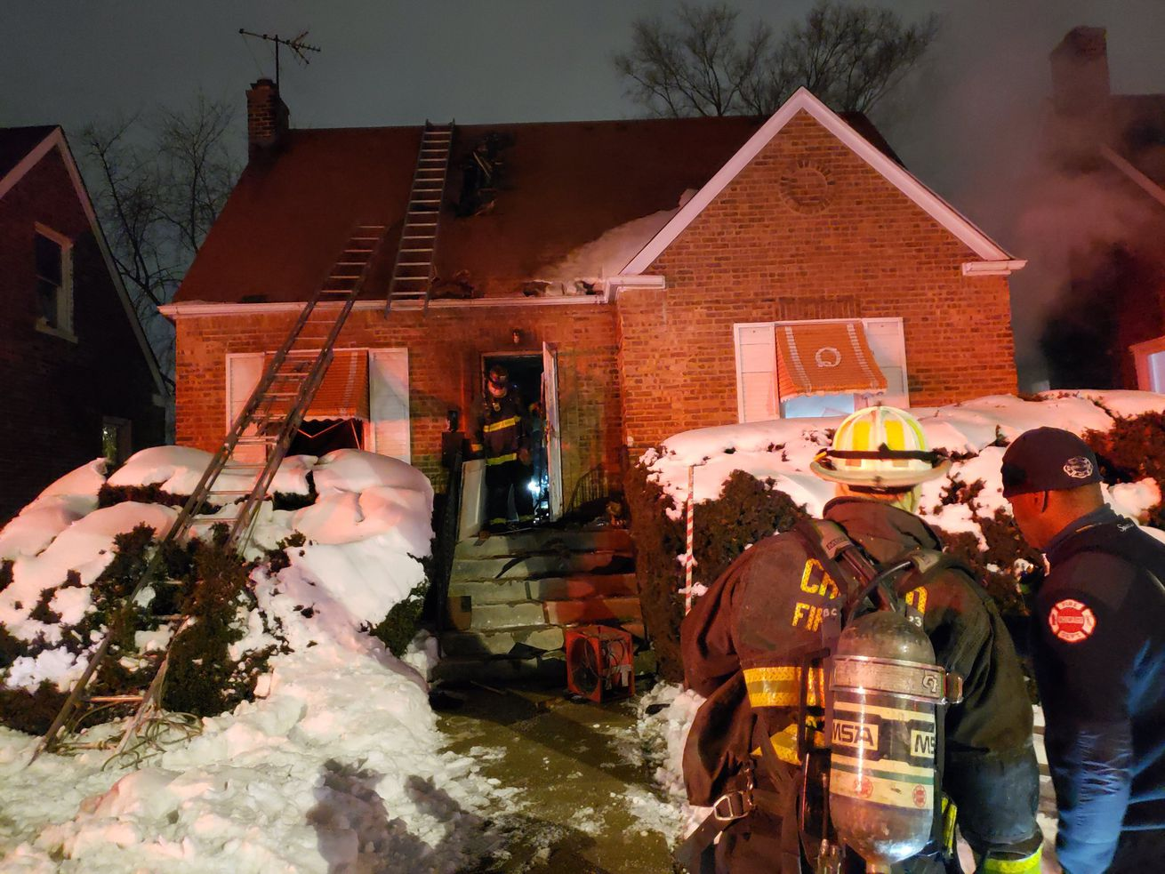 Firefighters at the scene of a fire Feb. 3, 2021, in South Deering.