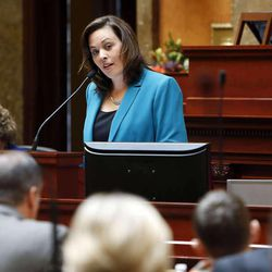House Speaker Becky Lockhart, R-Provo, speaks in the House of Representatives at the Utah Capitol in Salt Lake City, Monday, Jan. 27, 2014.