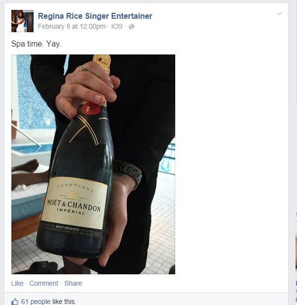 <small><strong>Regina Rice's Facebook page included this photo of a Champagne bottle at a spa posted eight days after Ernie Banks was buried.</strong></small>