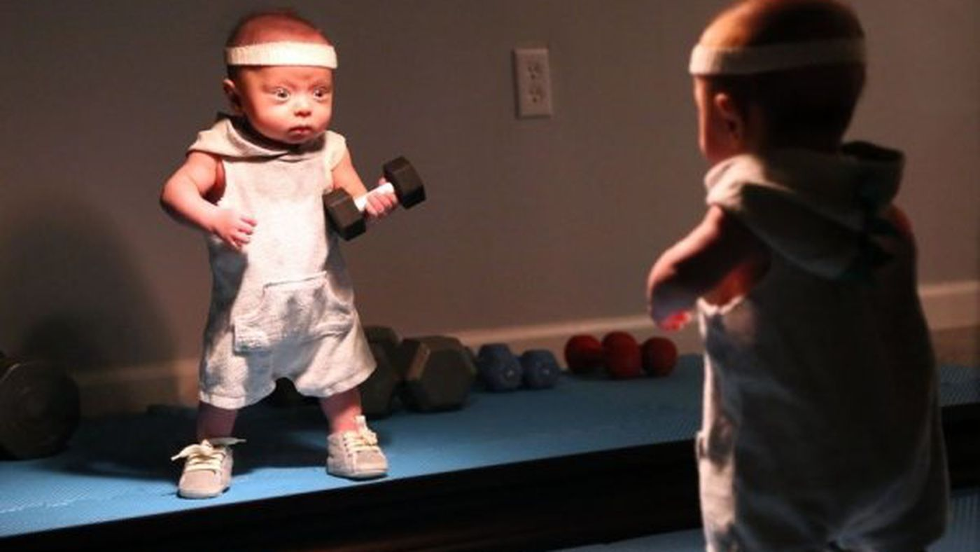 This Dad's Photoshoot Of His Baby Doing Manly Things Is Hysterical