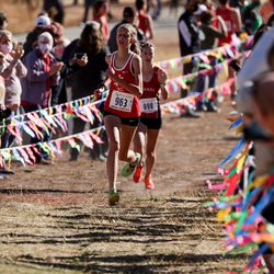 Mari Briggs of North Sanpete takes third place in the 3A girls state cross-country championship race at Soldier Hollow in Midway on Thursday, Oct. 22, 2020.