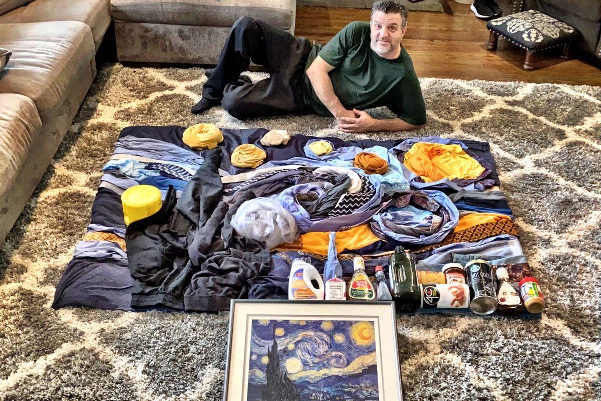 "Fordham Leadership Academy teacher Larry Minetti recreates Vincent Van Gogh's ""The Starry Night"" using household objects."