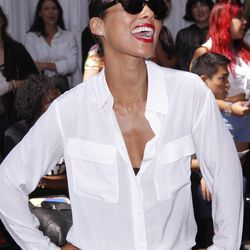 Singer Alicia Keys arrives for the Edun Spring 2013 collection show during Fashion Week, Saturday, Sept. 8, 2012, in New York.