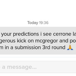 Cerrone via submission was the most commonly picked result for him.