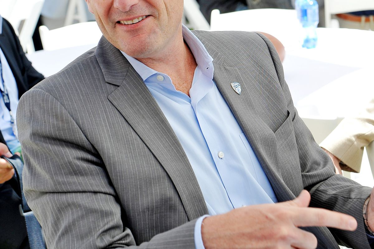 July 24, 2012; Los Angeles, CA, USA; Pac-12 commissioner Larry Scott speaks to the media at PAC-12 Media Day at Universal Studios Hollywood. Mandatory Credit: Jayne Kamin-Oncea-US PRESSWIRE