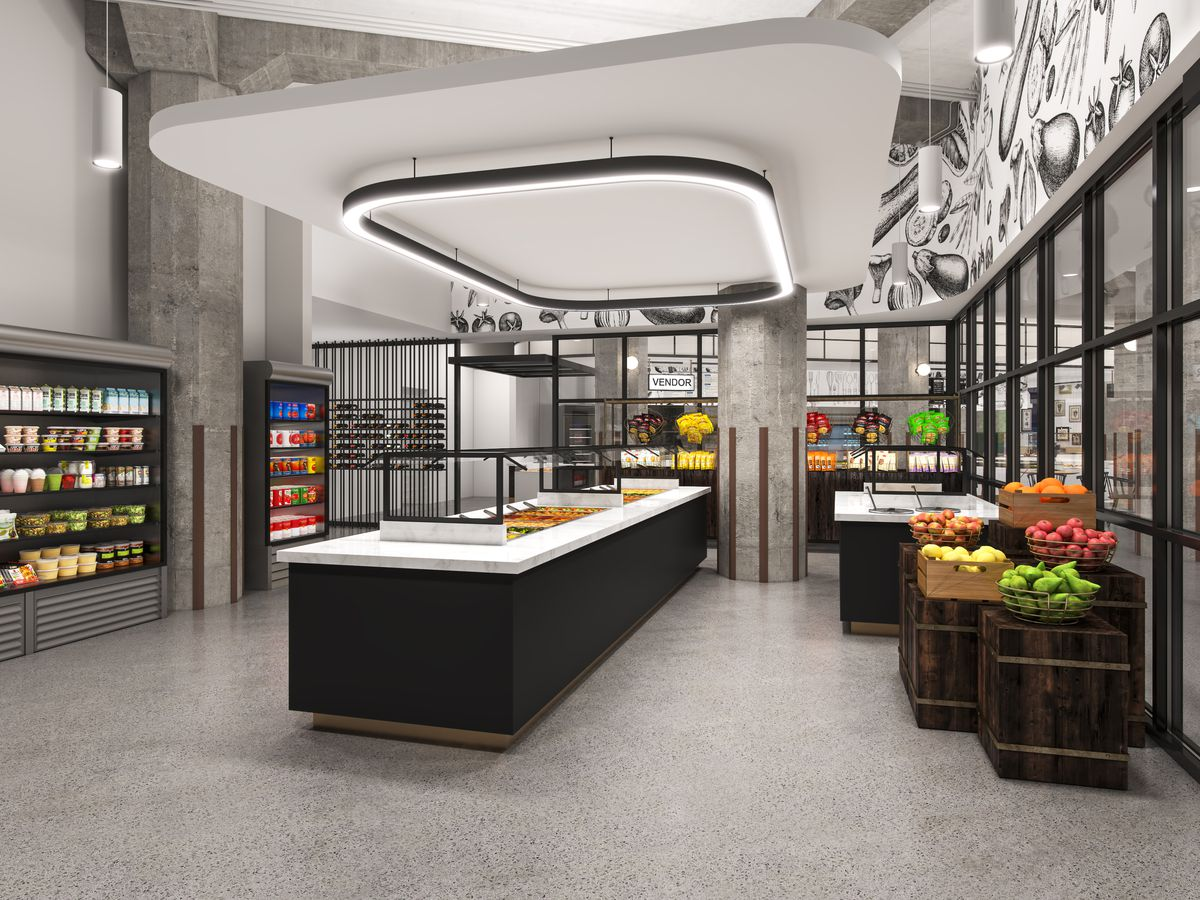 A computer-generated rendering shows a retail food area with a hot food bar in the middle and cold beverage cases along the walls.