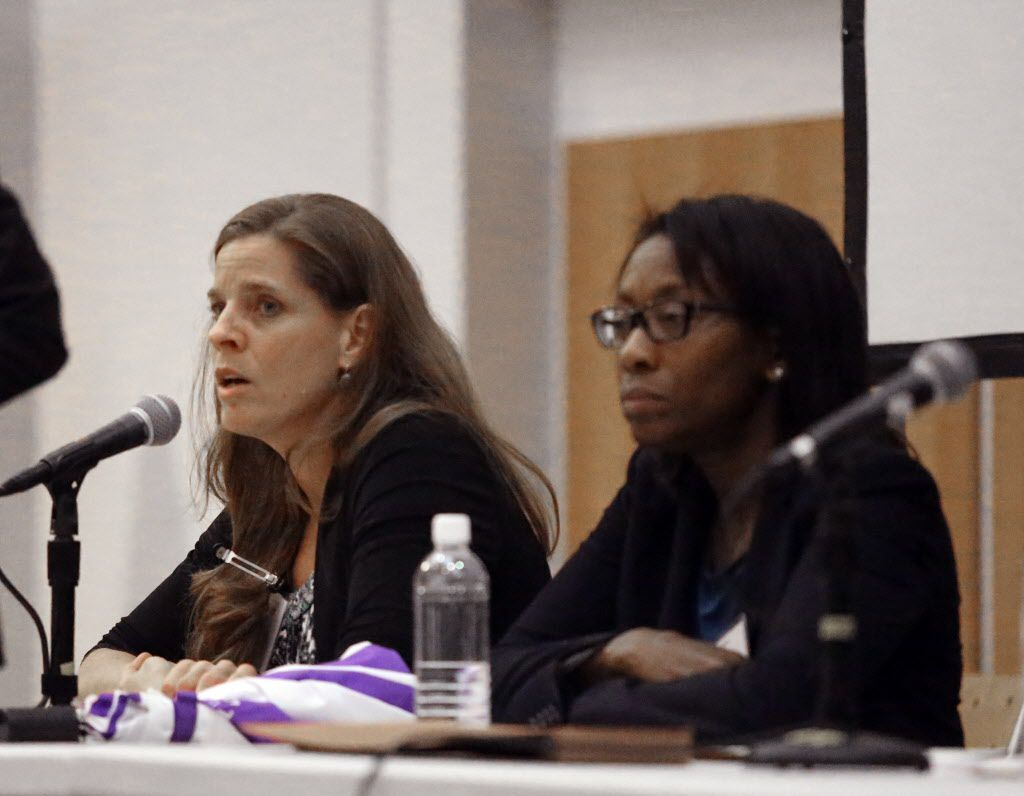 Christy Lopez, of the Department of Justice Civil Rights, responds to comments made during the public forum to discuss the investigation into the Chicago Police Dept. by the U.S. Dept. of Justice Civil Rights Division and the U.S. Attorney's office as Cyn