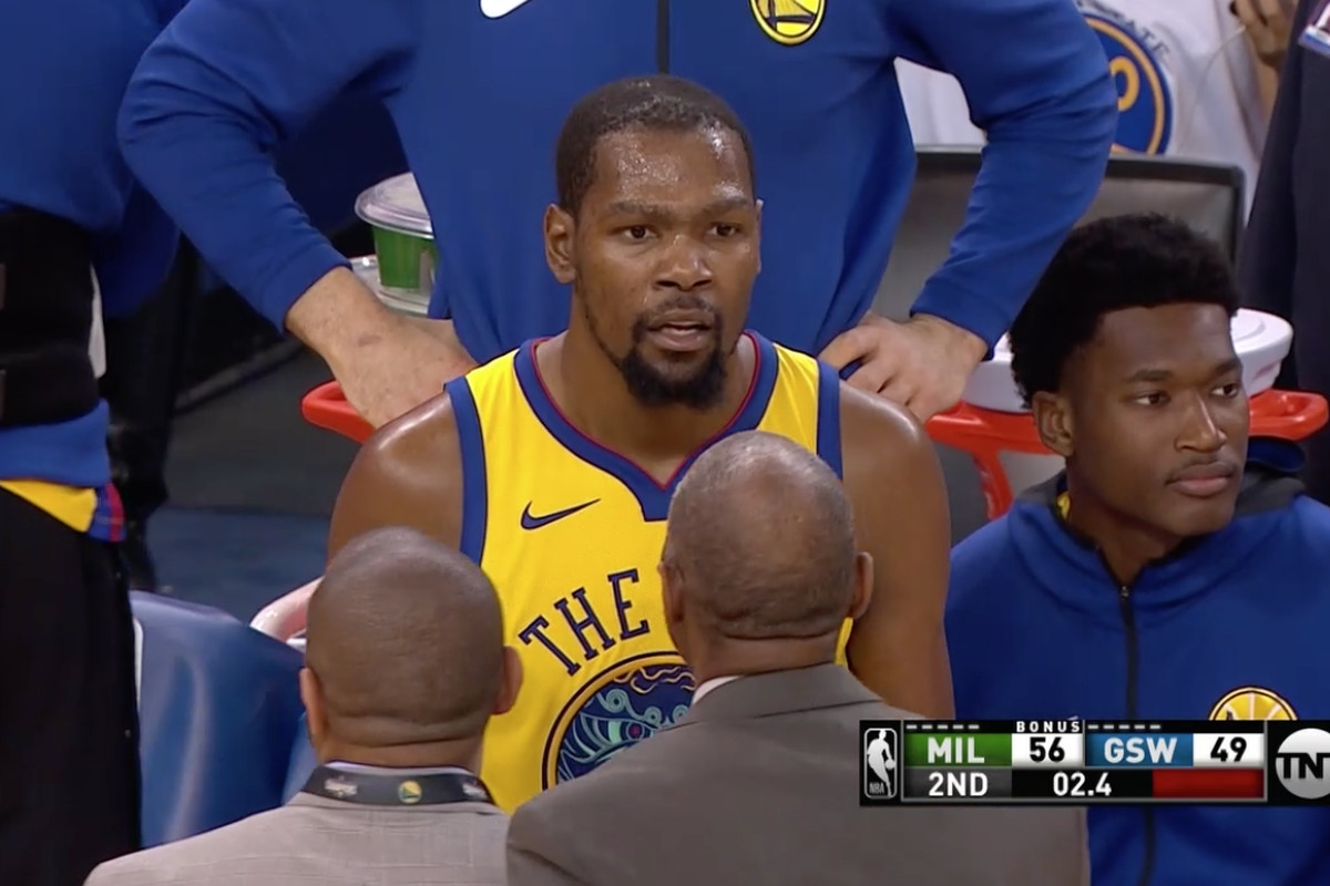 c5284591f651 Kevin Durant was ejected from the Warriors  Thursday night matchup against  the Bucks after he straight up cursed out a referee who didn t call a foul on  his ...