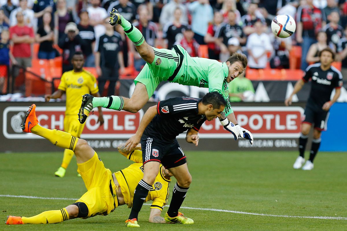 Crew SC keeper Steve Clark can't get to a ball against D.C. United on Saturday.
