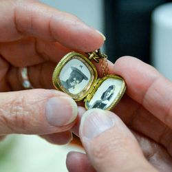 A locket that belonged to Heninger's biological mom, Lucile Mildred Ward, pictured on the right.