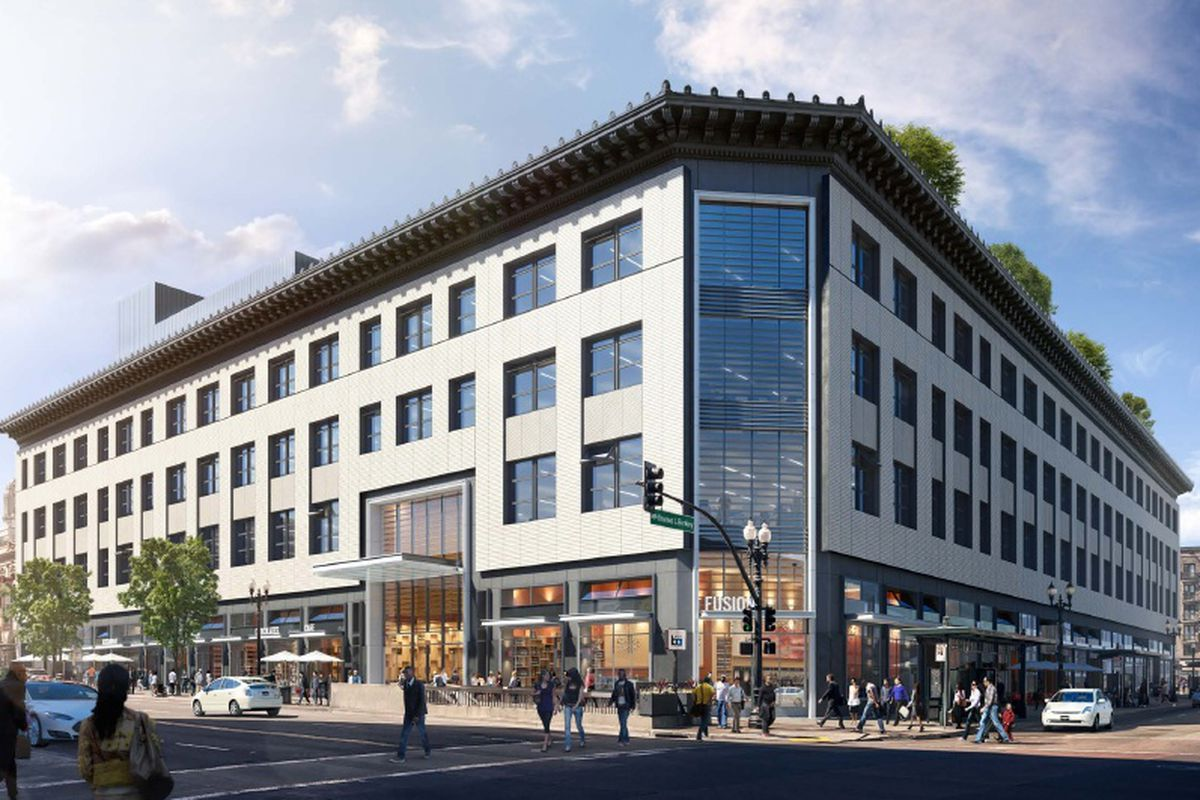 A rendering of the new Uptown Station building.