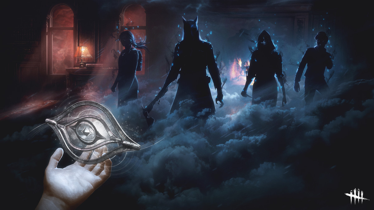 Dead by Daylight - The Archives, Tome III, key art, showing four characters in a dark, foggy room.