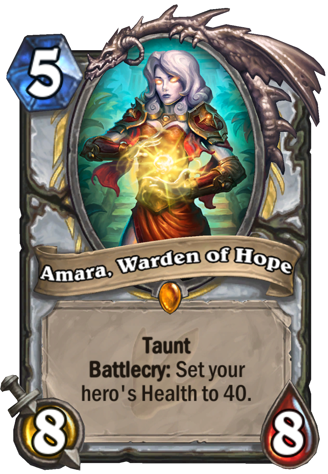 """This Hearthstone card is titled """"Amara, Warden of Hope."""" It costs 5 mana and has 8 attack and 8 health. The card text reads """"Taunt, Battlecry: Set your hero's Health to 40."""" The card picture features a woman with pale white skin and red armor. Her hands a"""