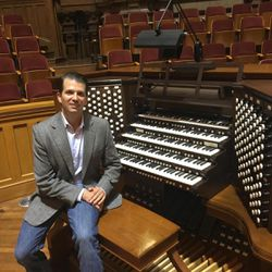 Donald Trump Jr. sits by an organ on Temple Square in Salt Lake City in September 2017. Trump Jr. said his father, President-elect Donald Trump, is a builder who would be fascinated by the Mormon Tabernacle, which was built without nails, and the granite Salt Lake Temple of The Church of Jesus Christ of Latter-day Saints.
