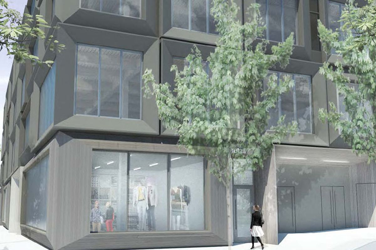 An early rendering of the 811 Stark building