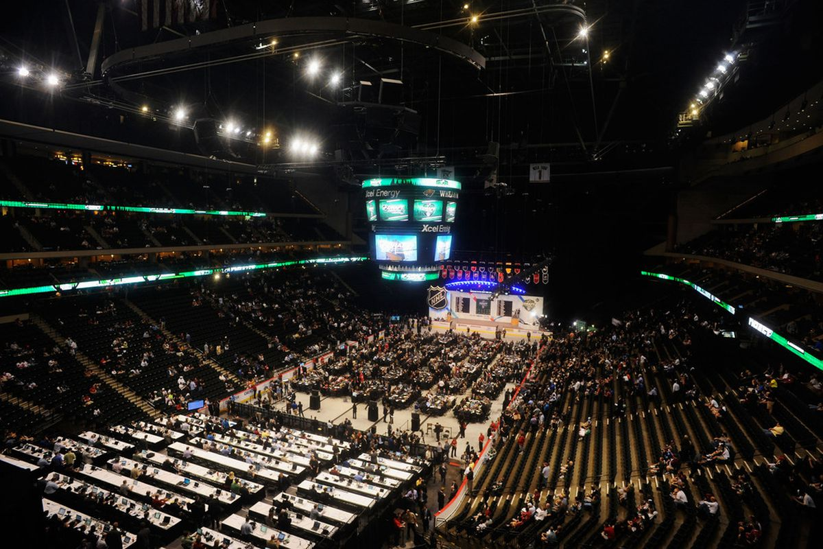 ST PAUL, MN - JUNE 24:  A general view of day one of the 2011 NHL Entry Draft at Xcel Energy Center on June 24, 2011 in St Paul, Minnesota.  (Photo by Hannah Foslien/Getty Images)