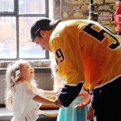 Roman Josi says one more good-bye to one of his biggest (and smallest) fans at Pinewood Social in Nashville.