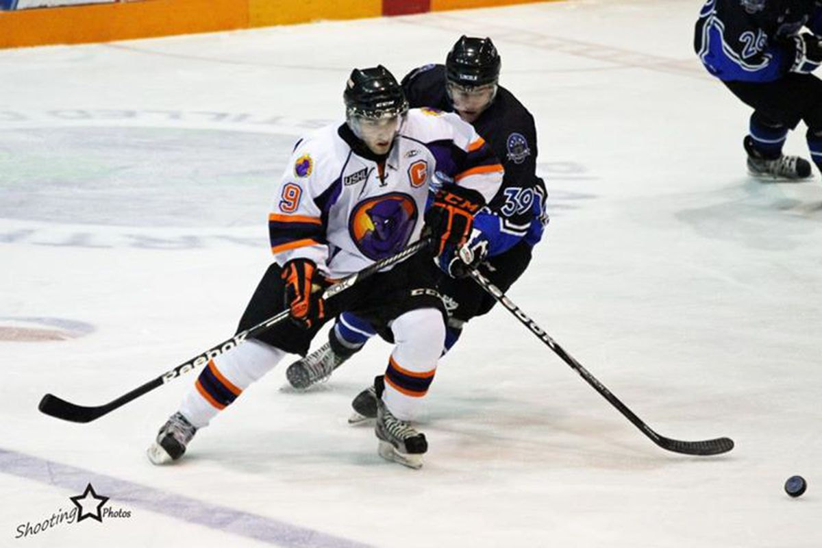 Austin Cangelosi battles for a loose puck while playing for the Cedar Rapids RoughRiders in the USHL last season.