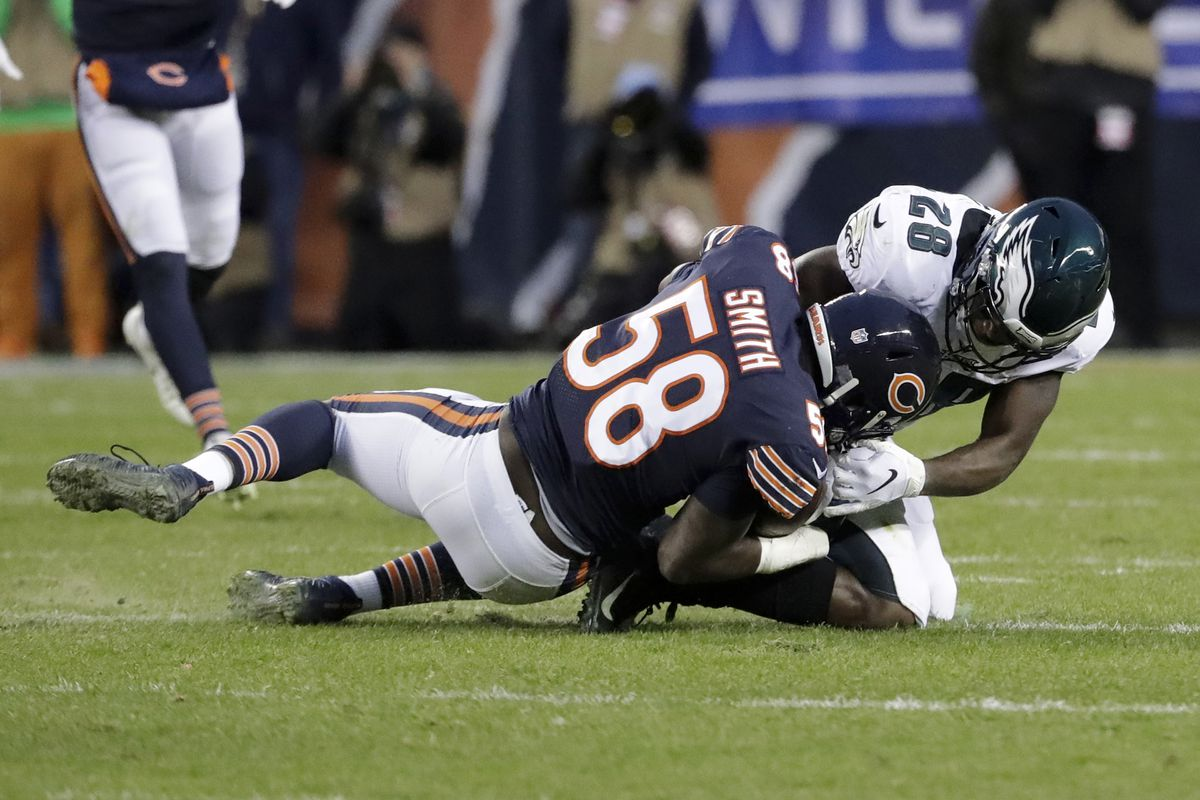 Linebacker Roquan Smith (58) led the Bears in tackles with 100 last season (65 solo) despite playing in only 12 games (and playing only a quarter against the Cowboys on Dec. 5 because of an injury).