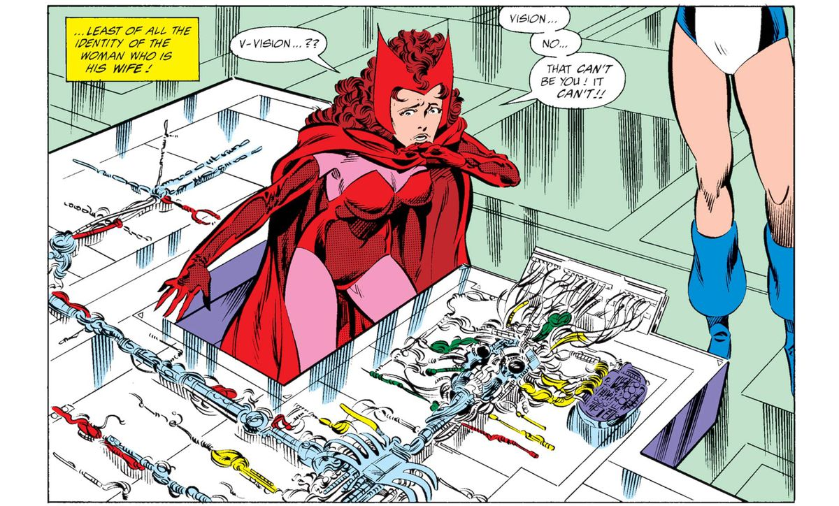 The Scarlet Witch discovers the Vision's dismantled body in a laboratory in West Coast Avengers #44, Marvel Comics (1989).