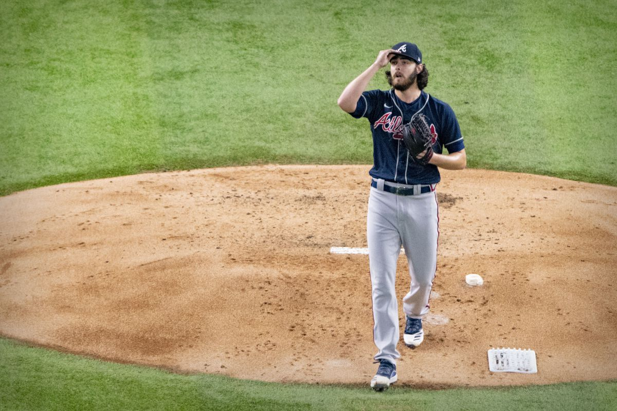 Atlanta Braves starting pitcher Ian Anderson pitches against the Los Angeles Dodgers during the second inning in game seven of the 2020 NLCS at Globe Life Field.