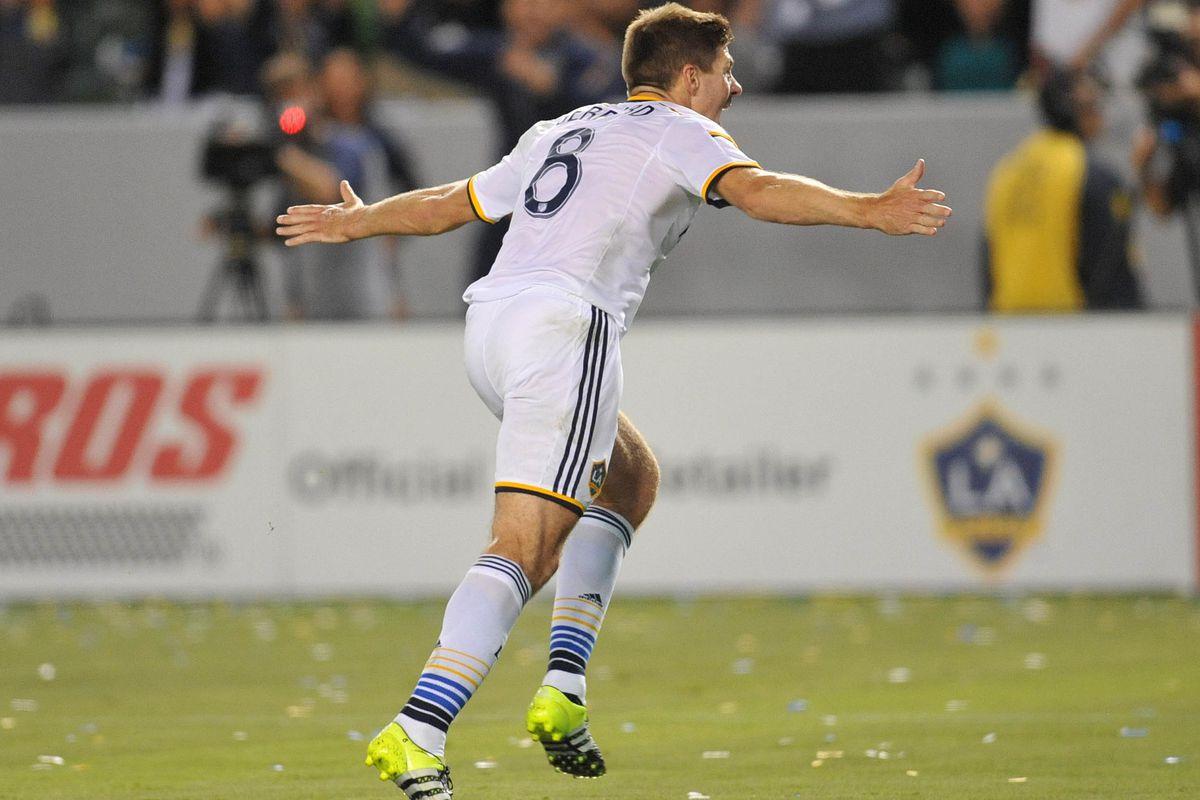 Steven Gerrard celebrates his first LA Galaxy goal.
