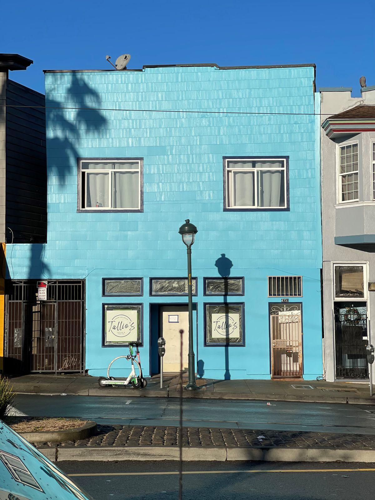 A blue building
