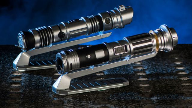 Lightsaber samples from Savi's Workshop, a new retail location expected to open at Star Wars: Galaxy's Edge.
