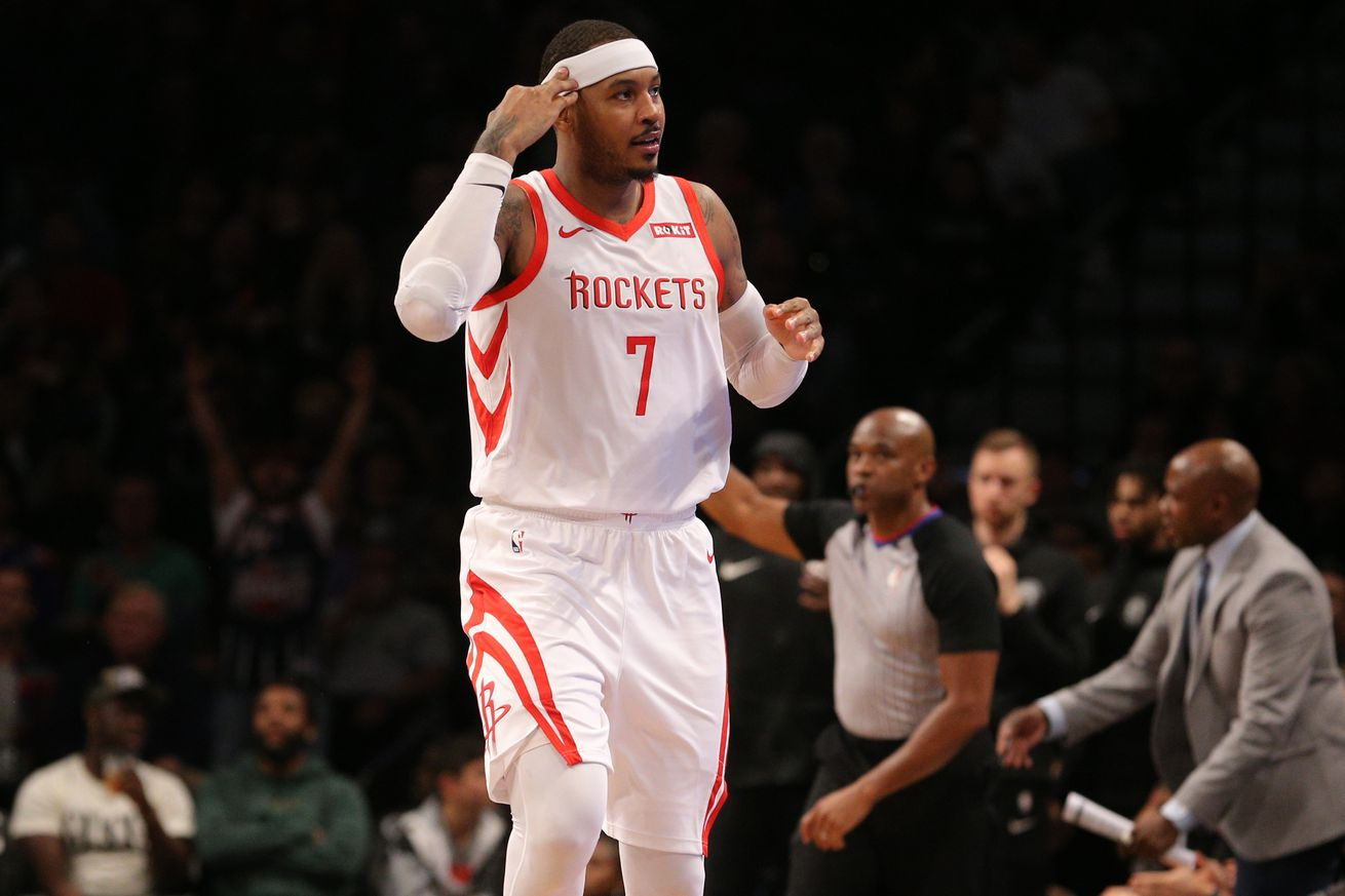 usa today 11578987.0 - Carmelo Anthony's brief Rockets tenure is over after a money-saving trade to the Bulls