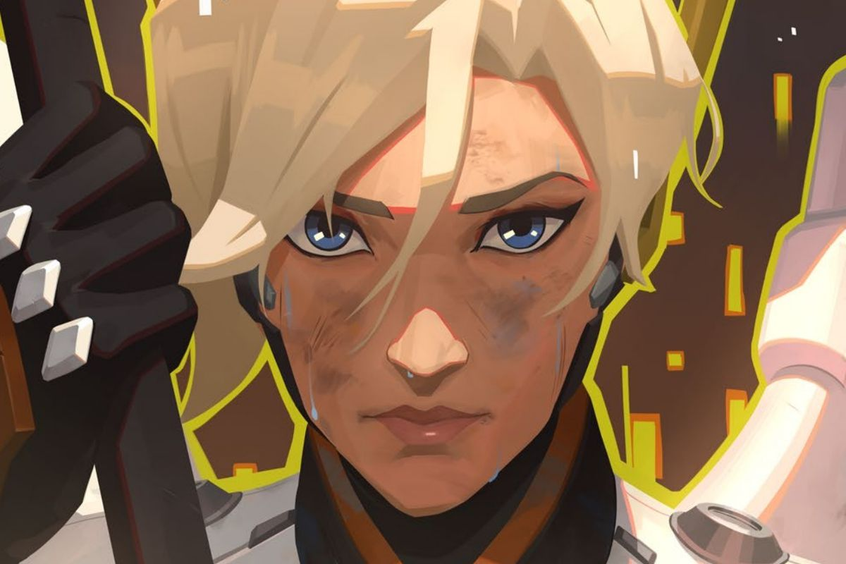 Close up of Overwatch hero Mercy's face