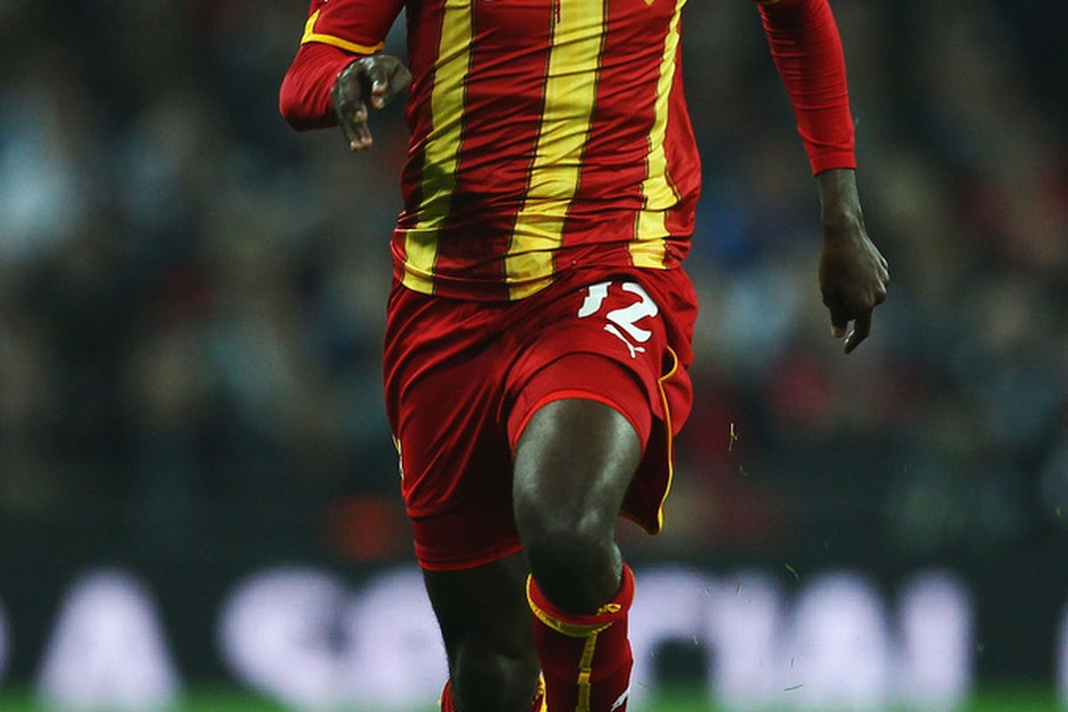 Prince Tagoe playing for the Ghana national team against England, March 29, 2011. (Photo by Julian Finney/Getty Images)