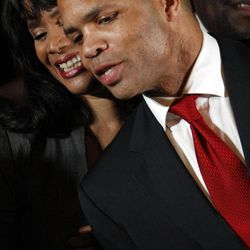 FILE - In this March 20, 2012 file photo, Rep. Jesse Jackson Jr., D-Ill., and his wife Chicago Alderman Sandi Jackson, thank family members at the foot of the stage at his election night party, in With the November election only five weeks away, Jackson's absence from work and the campaign trail is testing patience in Chicago. His GOP opponent is now criticizing him for it after pledging not to. Friendly editorial writers are now urging he come forward and finally explain himself. And Jackson's alderman wife, Sandi, is having to deny in public that she might step in to replace him. The Jackson camp says only that the congressman is still on the ballot and will only return to work when cleared for that by a doctor, but the uncertainty and mystery is feeding talk of what happens if he resigns and needs to be replaced, a process with a sordid history in Chicago and Illinois.