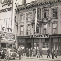 """Luchow's on 110 East 14th Street, 1938 by Berenice Abbott. From the Collections of the Museum of the City of New York. [<a href=""""http://collections.mcny.org/MCNY/C.aspx?VP3=ViewBox&IT=ZoomImageTemplate01_VForm&IID=2F3XC5U0AB9V&CT=Image&Fla"""