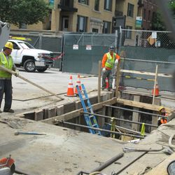 1:28 p.m. Excavation site on Waveland at Sheffield, just inside the work fence -