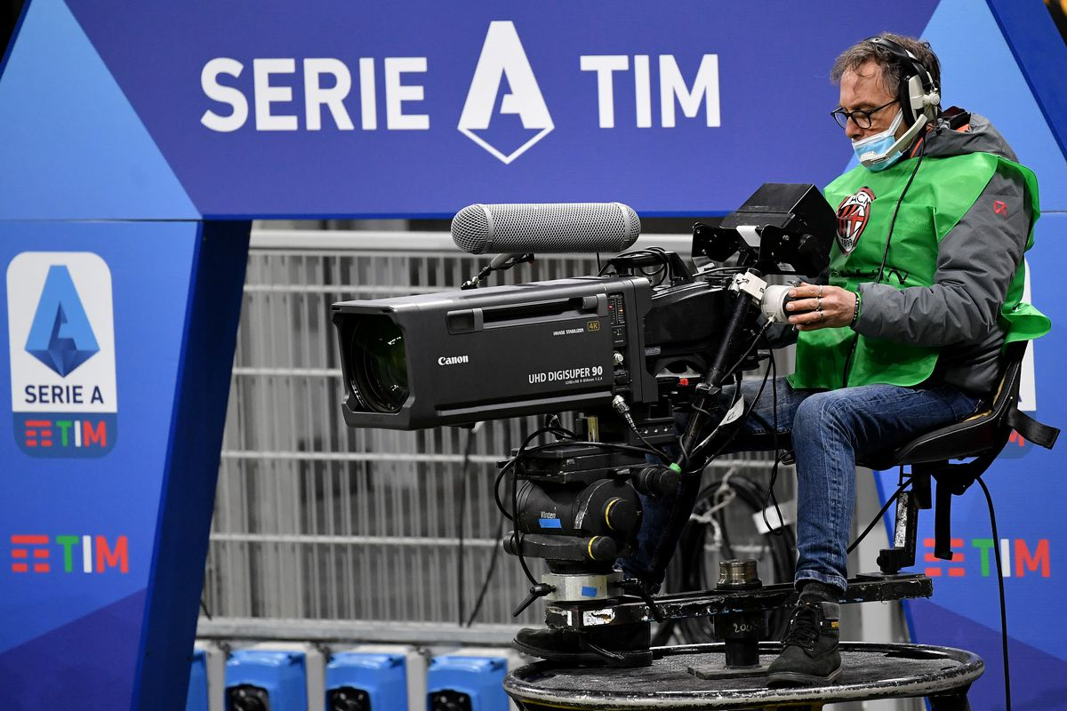A cameraman at work in front of the Serie A setup during the...